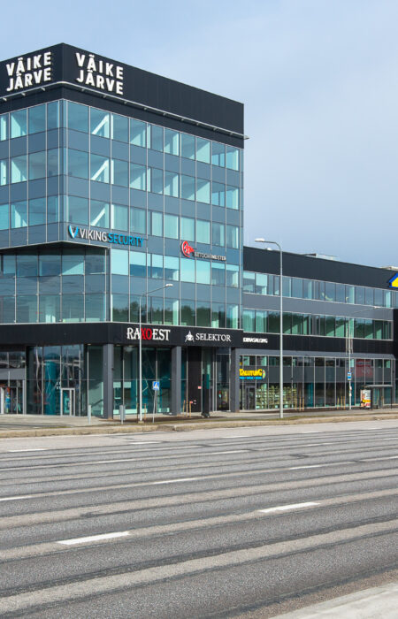 Väike Järve Commercial Building. Facade is made with ALUCOIL jet black facade panels